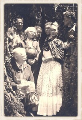 Van Heijenoort, far right, with (l to r) Trotsky; Diego Rivera; Natalya Trotsky; Reba Hansen; André Breton, surrealist writer and theoretician; Frida Kahlo. Coyoacán, Mexico. ©Laure van Heijenoort, Used with permission.